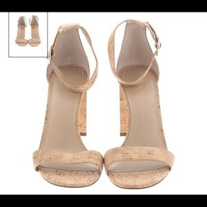 Ann Taylor 10 cork sandals heels nude tan